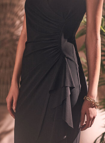 Faux Wrap Cocktail Dress, Black,  spring summer 2021, cocktail dress, wrap, draped, cascade, cinched, no sleeves, made in Canada
