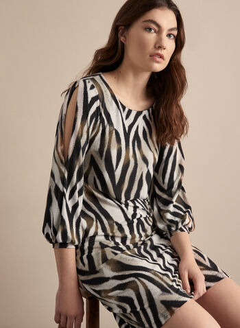 Animal Print Day Dress, Black,  canada, 3/4 sleeves, balloon sleeves, short dress, day dress, zebra print, animal print, printed dress, spring 2020, summer 2020