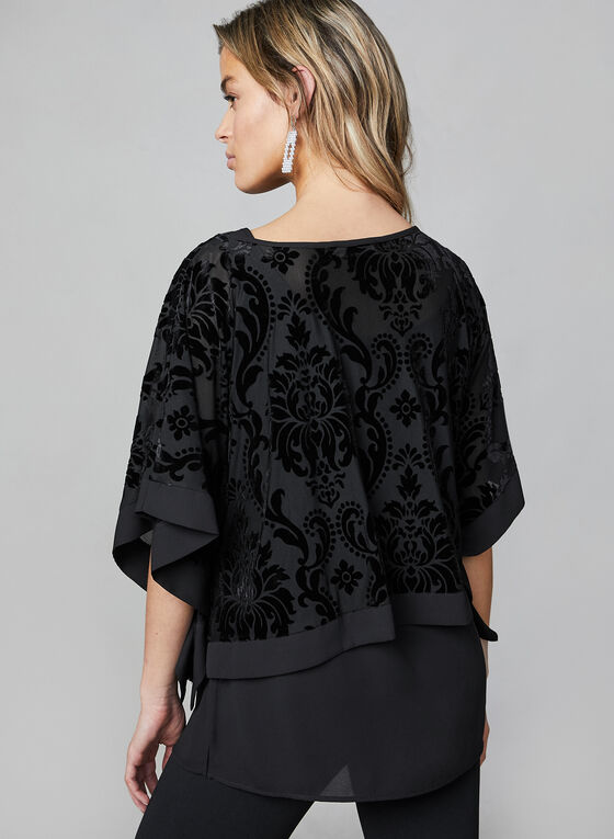 Layered Burnout Kimono Top, Black
