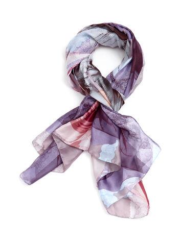 Lace & Floral Print Scarf, , hi-res