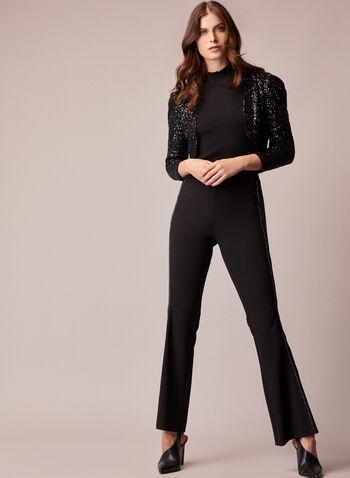 Pantalon à jambe large avec bordures en pierres du Rhin, Noir,  pantalon, jambe large, crêpe, pierres du Rhin, lisière, détail, automne hiver 2020
