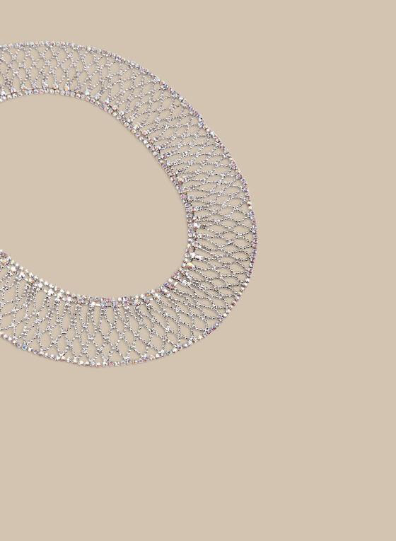 Crystal Filigree Necklace, Silver