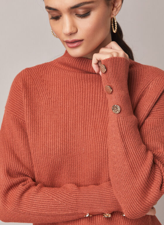 Mock Neck Tunic Sweater, Brown