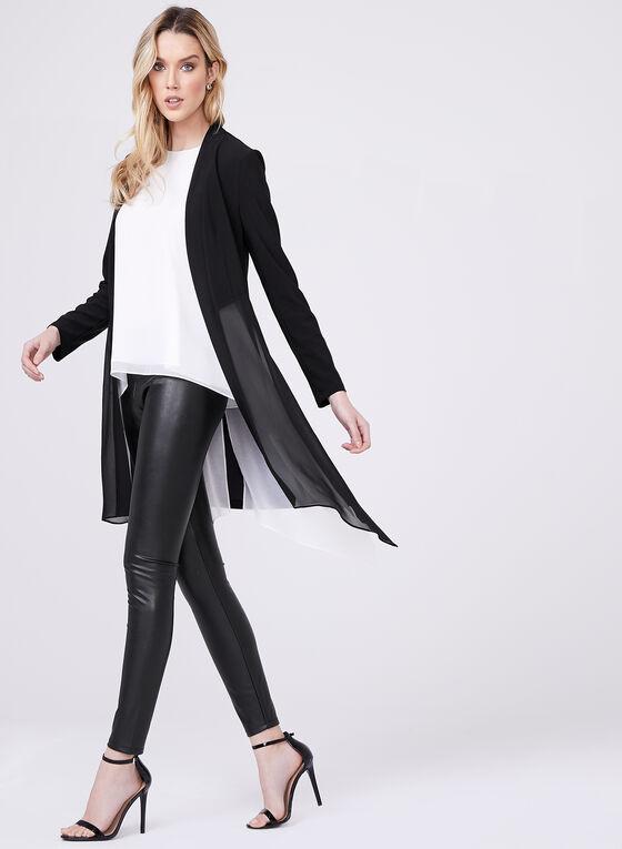 Cardigan ouvert avec mousseline et ourlet asymétrique, Noir, hi-res