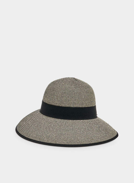Chapeau cloche en paille à visière, Noir, hi-res