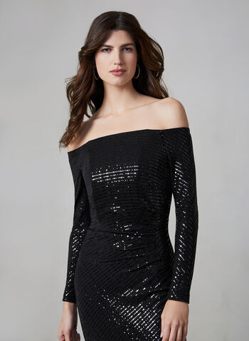 Cachet - Off-the-Shoulder Glitter Dress, Black,  evening gown, off-the-shoulder, sequins, pleated, fall 2019, winter 2019