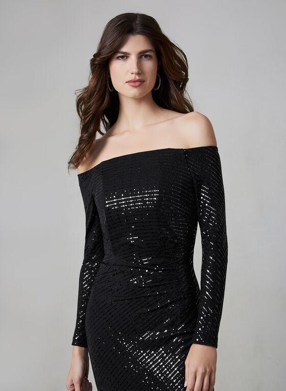 Cachet - Robe fourreau pailletée, Noir
