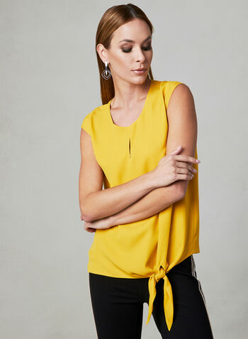 Tie Front Blouse, Yellow, hi-res,  extended shoulder, blouse, spring 2019, tie