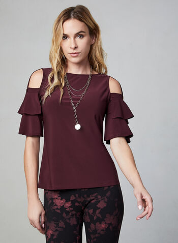 Ruffle Sleeve Top, Purple,  fall winter 2019, jersey fabric, boat neck, cold shoulder