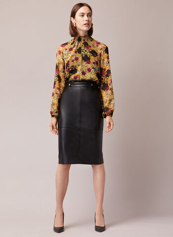 Vegan Leather Pencil Skirt, Black,  skirt, pencil, vegan leather, ruffle, fall winter 2020
