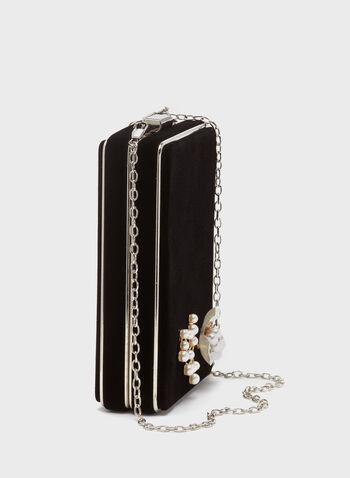 Minaudière rectangulaire avec fleur en perles, Noir, hi-res