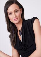 Adrianna Papell - Robe à col drapé et effet plissé, Noir, hi-res