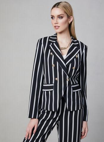 Frank Lyman - Stripe Print Blazer, Black, hi-res