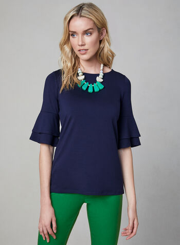 ¾ Ruffle Sleeve Top, Blue, hi-res,  scoop neck, jersey, elbow sleeves, fall 2019