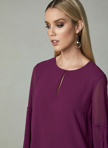Balloon Sleeve Chiffon Blouse, Pink, hi-res