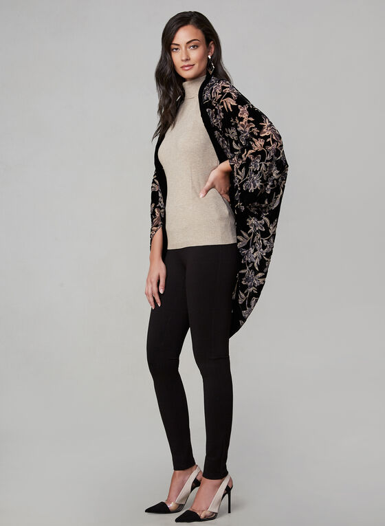 Floral Print Pashmina, Black