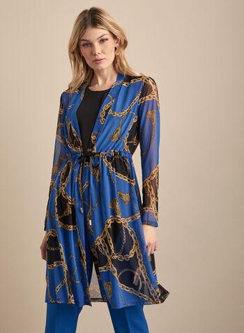 Tunique motif chaînes en maille filet, Bleu,  tunique, maille filet, manches longues, chaîne, lien, printemps été 2020