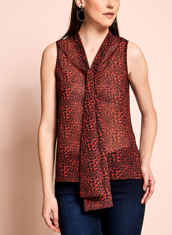 Leopard Print Tie Front Sheer Blouse, Red, hi-res