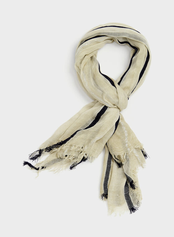 Foulard à rayures métalliques, Blanc cassé, hi-res