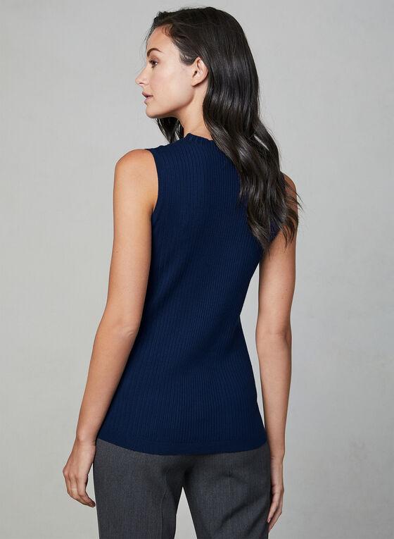 Sleeveless Ribbed Knit Top, Blue