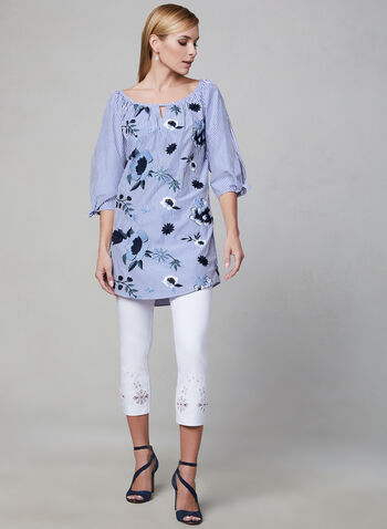 Joseph Ribkoff - Embroidered Cotton Tunic, Blue, hi-res