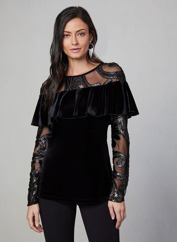 Frank Lyman - Ruffle Velvet Top, Black, hi-res,  top, velvet, mesh, long sleeves, ruffle, scoop neck, fall 2019, winter 2019