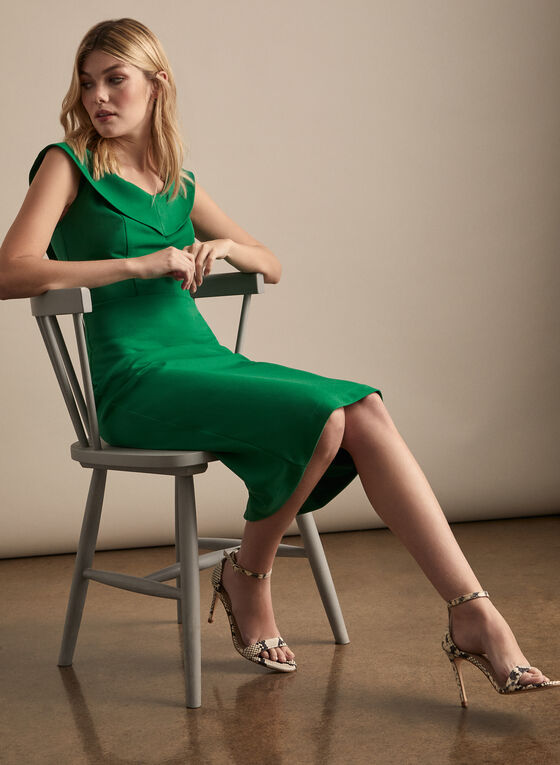 V-Neck Cocktail Dress, Green