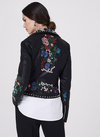 Frank Lyman - Studded Embroidered Faux Leather Jacket, Black, hi-res