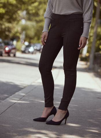 Pantalon Kayla à jambe étroite, Gris,  essentiels, pantalon, jambe étroite, bas, surpiqûres, pull-on, à enfiler, poches, rivets, extensible, automne 2021