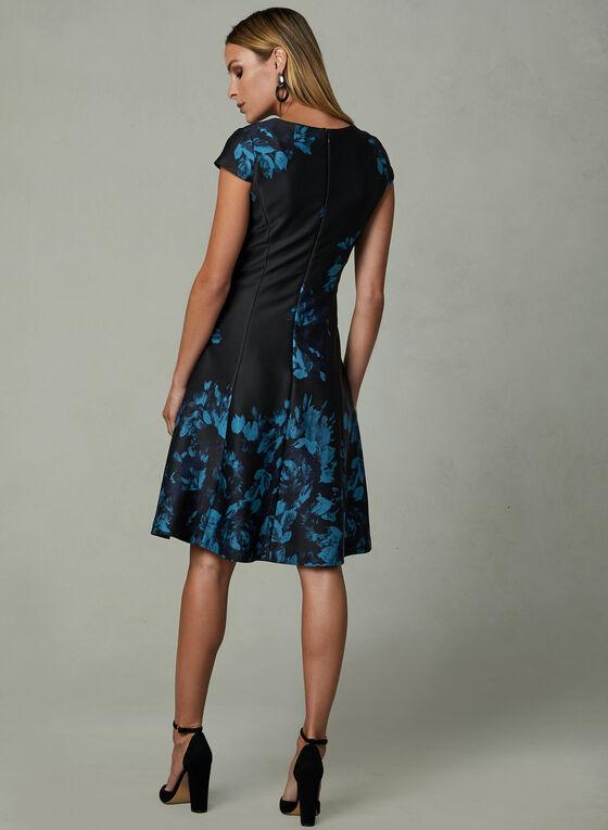 Julia Jordan - Floral Print Fit & Flare Dress, Blue, hi-res
