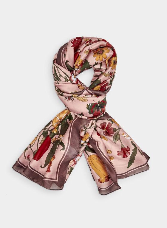 Foulard léger à motif floral, Rose