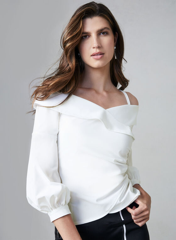Joseph Ribkoff - Off-the-Shoulder Blouse, White
