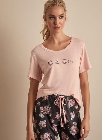 Comfort & Co. - Two-Piece Pyjama Set, Pink,  pyjamas, set, 2-piece, t-shirt, capris, stretchy, floral, scoop neck, short sleeves, text, print, spring summer 2020