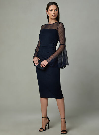 Maggy London - Illusion Neck Bell Sleeve Dress