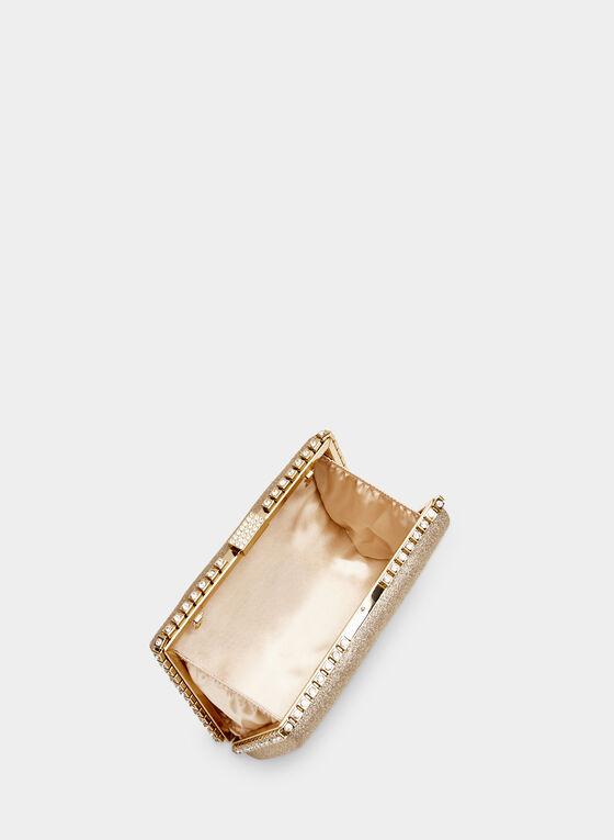 Pochette rectangulaire pailletée, Or, hi-res