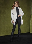 Faux Shearling Drape Front Coat, Off White, hi-res
