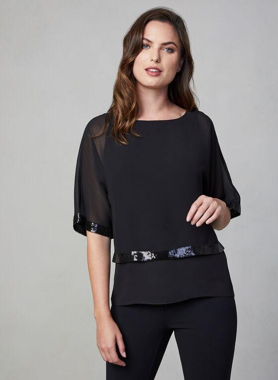 Short Sleeve Kimono Blouse, Black, hi-res