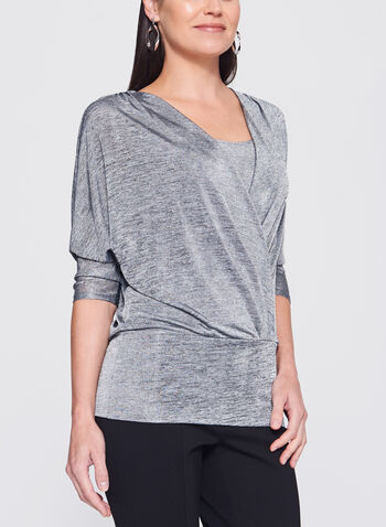 Dolman Sleeve Faux Wrap Top, , hi-res