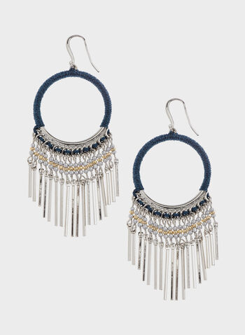 Metal Fringe Hoop Earrings, Blue, hi-res