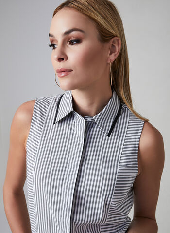 Stripe Print Sleeveless Top, White, hi-res,  sleeveless, pointed collar, button down, stripe print, spring 2019