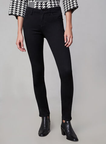 Comfort Fit - Straight Leg Jeans, Black, hi-res,  jeans, pants, denim, elastic, stretch, straight leg, studs, pull-on, pockets, fall 2019, winter 2019