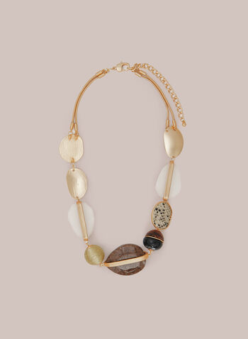Geometric Multi-Row Necklace, Brown,  fall 2020, necklace, multi-row, stones, accessories, jewellery