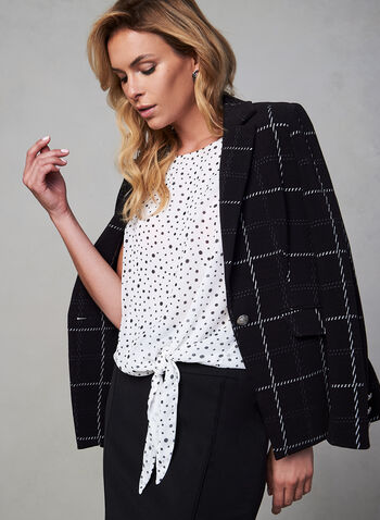 Chiffon Polka Dot Print Blouse, White, hi-res,  canada, sleeveless, blouse, top, crew neck, polka dot, print, chiffon, fall 2019, winter 2019