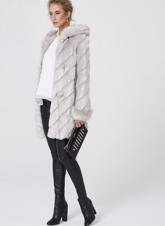 Nuage- Faux Fur Hooded Coat, Silver, hi-res