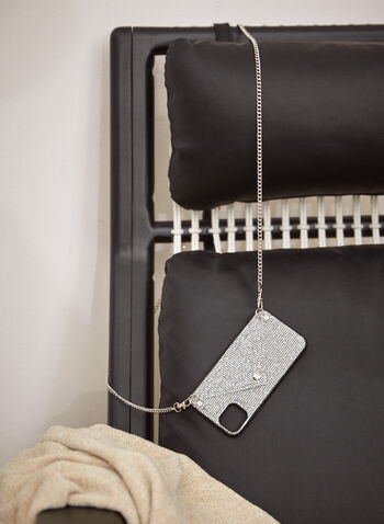 Glitter iPhone Case With Crossbody Chain, Silver,  fall 2021, accessories, handbags, bag, phone holder, phone case, iPhone case, iPhone, crossbody, removable strap, card slit, snap closure, hard shell case, vegan leather, faux leather, quilted, envelope, card holder, glitter, shimmer, shine, crystal, bedazzled