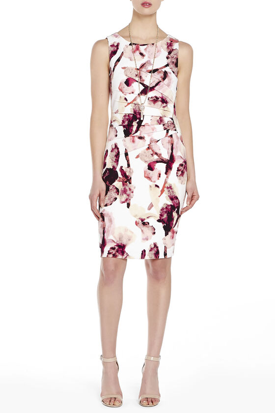 2fa39384 ... Ivanka Trump Printed Side Zip Starburst Seam Dress, Multi, hi-res ...