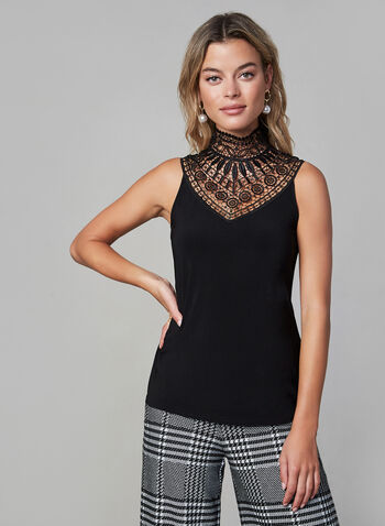 Joseph Ribkoff - Lace Yoke Top, Black, hi-res,  fall winter 2019, jersey fabric, mock neck, sleeveless