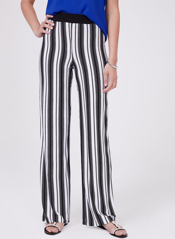Stripe Print Pull-On Wide Leg Pants, White, hi-res