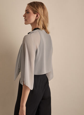 Alex Evenings - Chiffon Bolero, Silver,  spring summer 2020, chiffon, 3/4 sleeves, evening looks