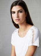 Crochet Boat Neck Top, Off White, hi-res